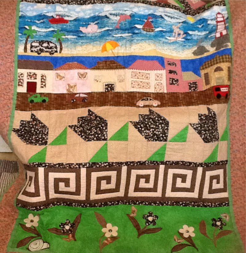 Rita Mills strippy quilt was created on her Janome, supplied by GUR Sewing Machines