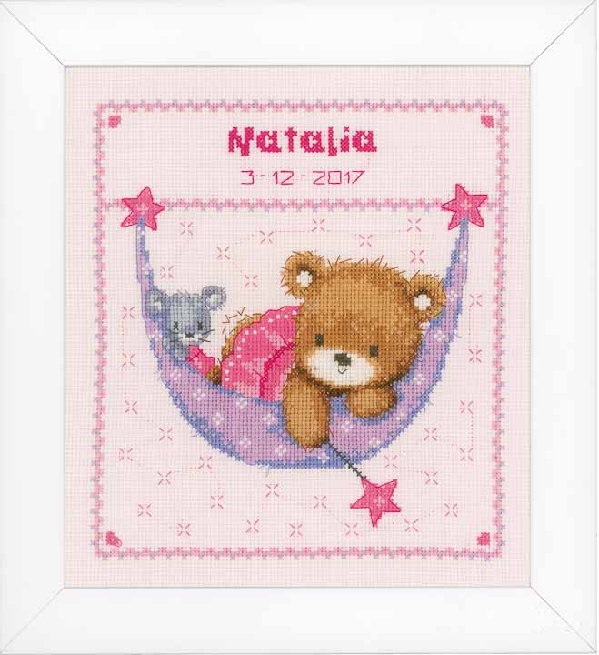 Counted Cross Stitch: Birth Record: Little Bear in Hammock (Pink) Birth Records CSK