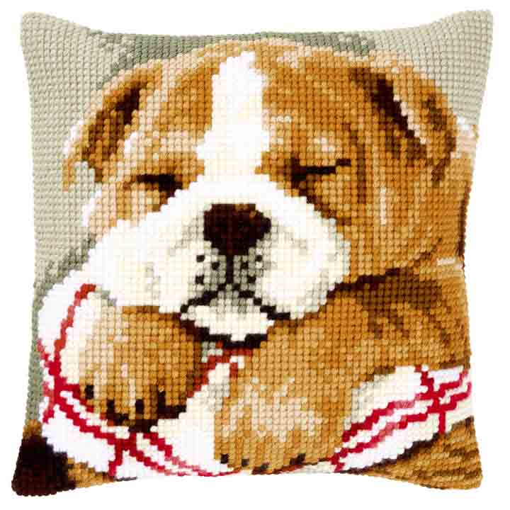Vervaco Cross Stitch Cushion: Sleeping Bulldog