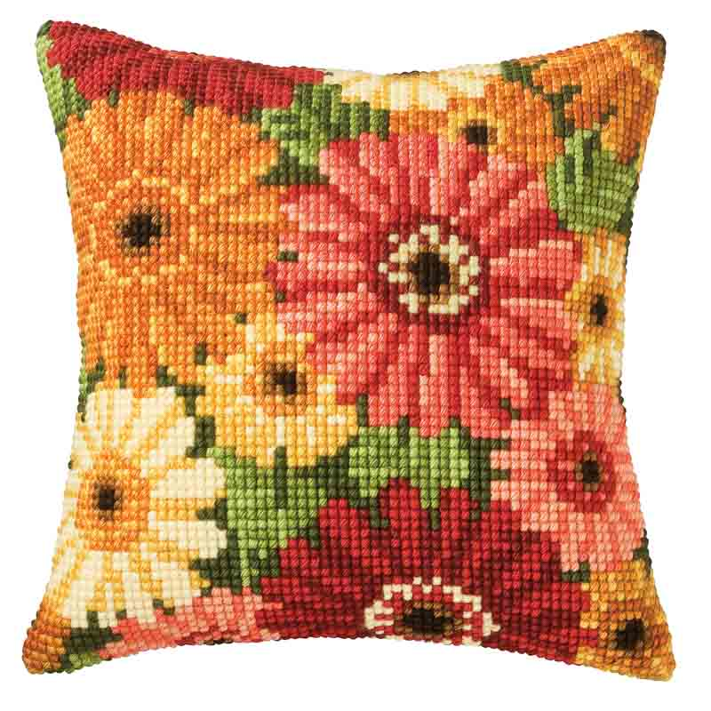 Vervaco Cross Stitch Cushion Kit: Gerbera Flowers & Nature CSCK