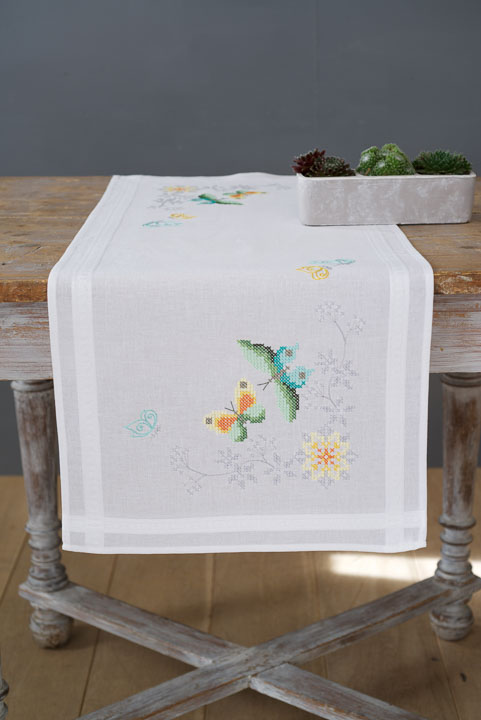 Vervaco Cross Stitch Kit: Runner: Flowers & Butterflies Runners and Tablecloths CSK
