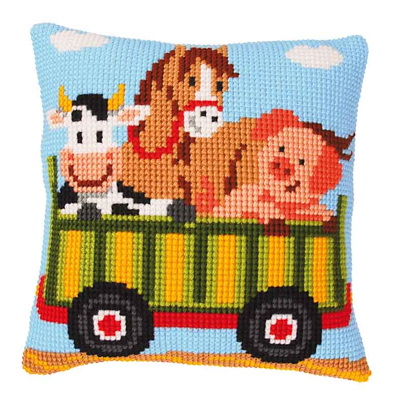 Vervaco Cross Stitch Cushion Kit: Tractor 2 Cars & Transport