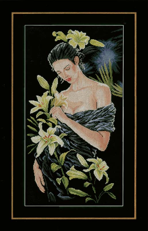 Lanarte Counted Cross Stitch Kit: Lady with Lilies (Aida)