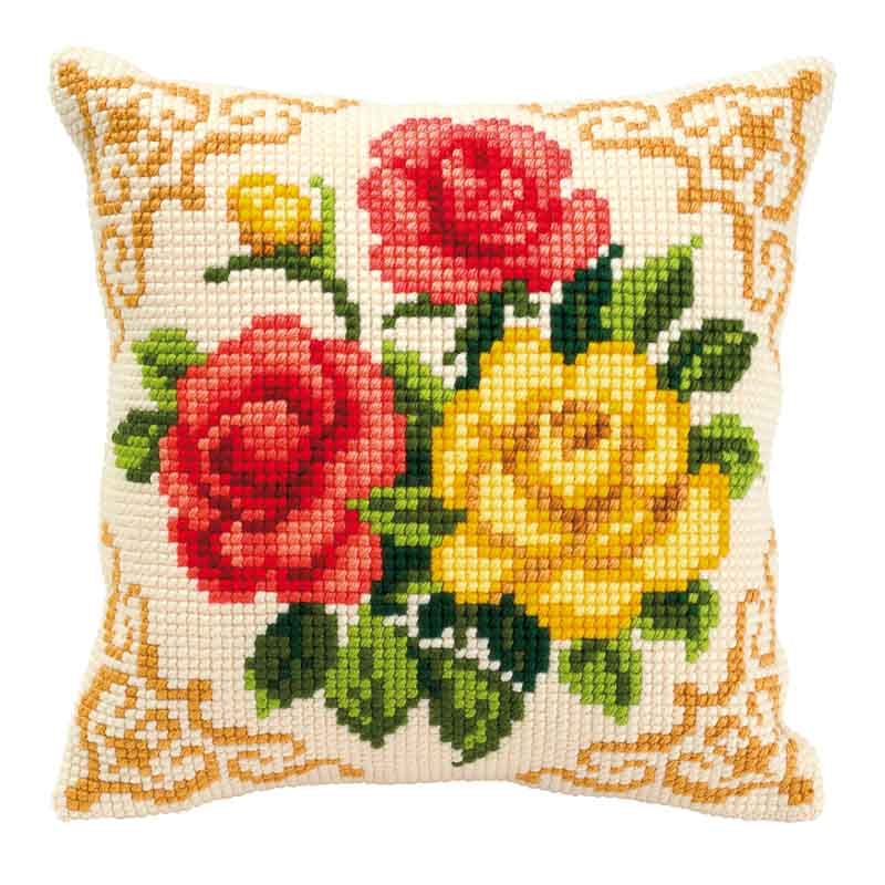 Vervaco Cross Stitch Cushion Kit: Mixed Roses Flowers & Nature CSCK