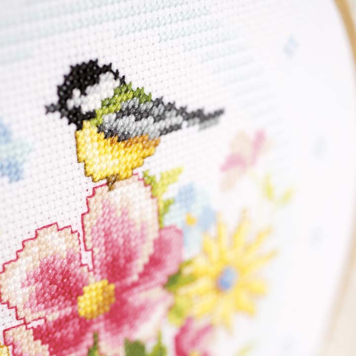 Vervaco Counted Cross Stitch Kit with Embroidery Ring: Bird and Flowers