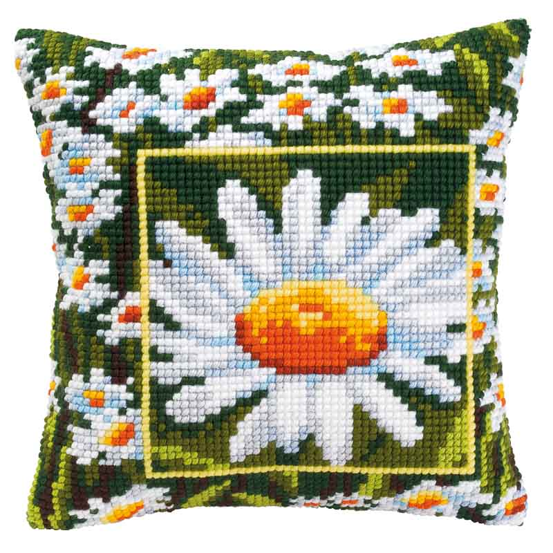 Vervaco Cross Stitch Cushion Kit: Daisy Flowers & Nature CSCK