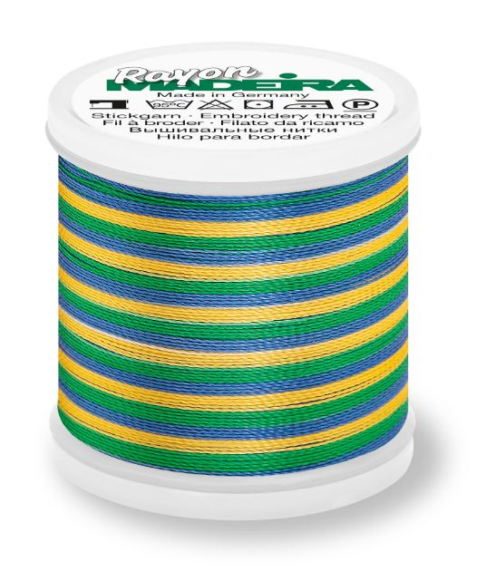 Madeira 9840_2146 | Rayon Multicolor Embroidery Thread 200m | Blue/Green/Yellow