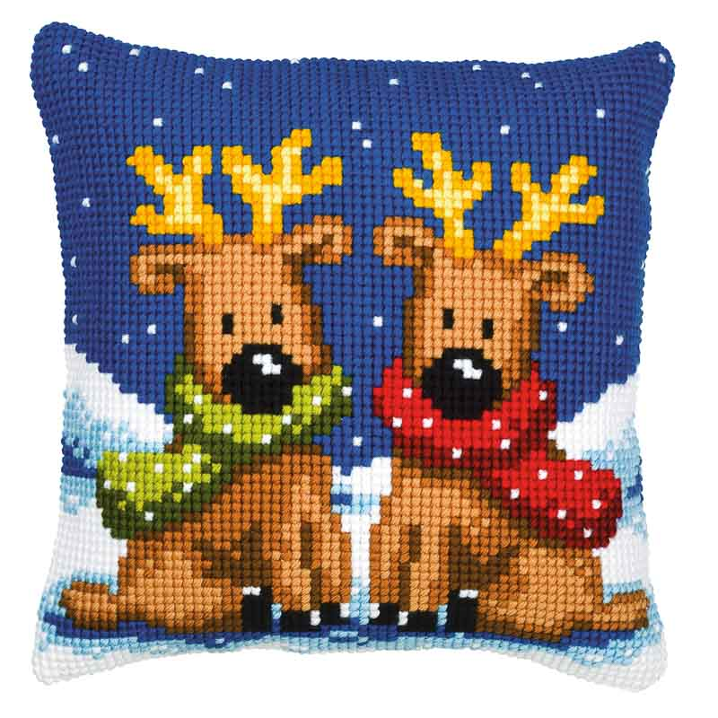 Vervaco Cross Stitch Cushion Kit: Reindeer Twins Animals & Birds CSCK