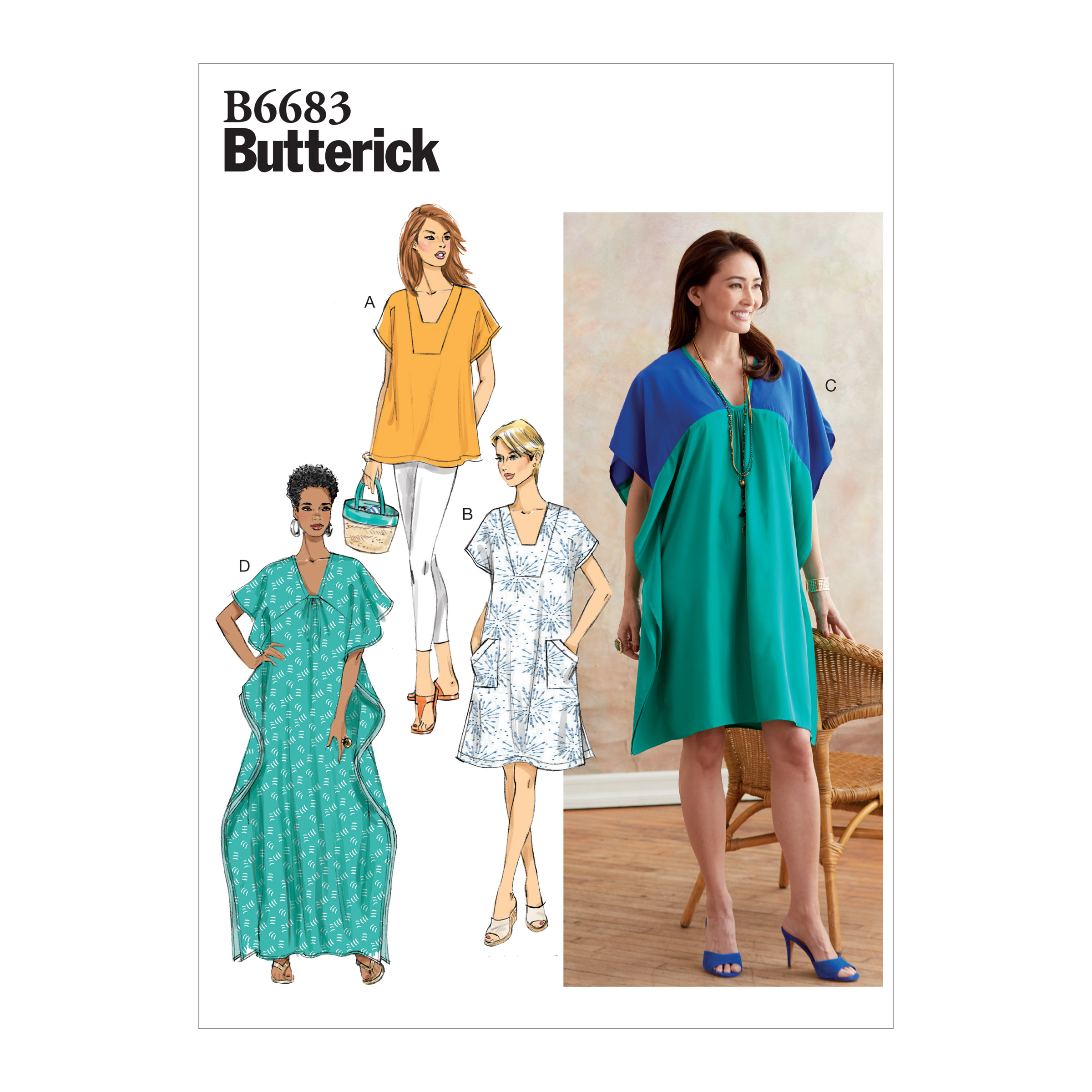 Butterick B6683ZZ | Misses Tunic and Caftan | Size - ZZ (LRG-XLG-XXL) | Sewing Pattern