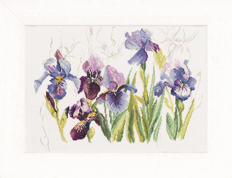 Lanarte Counted Cross Stitch Kit: Irises (Linen)