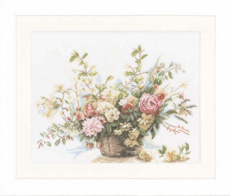 Lanarte Counted Cross Stitch Kit: Basket of Roses (Linen)