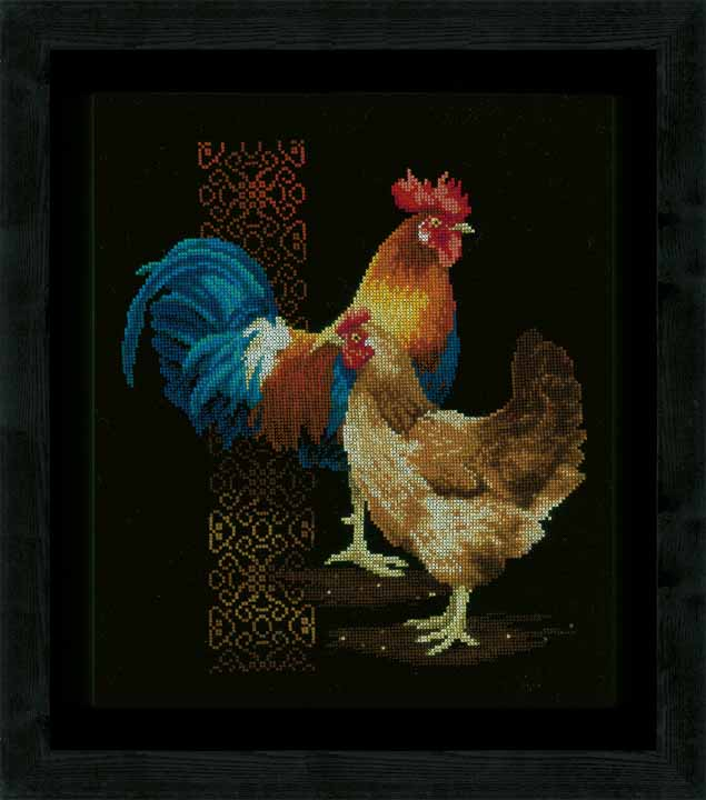 Counted Cross Stitch Kit: Chicken & Rooster Animals & Birds CSK