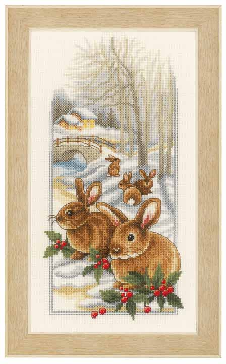 Counted Cross Stitch Kit: Rabbits in the Snow Animals & Birds CSK