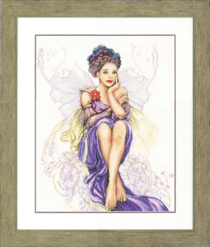 Lanarte Counted Cross Stitch Kit: Purple Butterfly Girl (Linen)