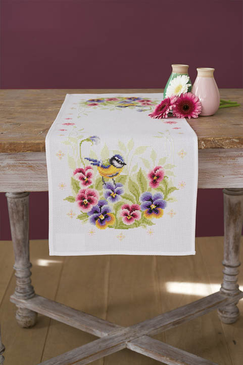 Vervaco Cross Stitch Kit: Runner: Birds & Violets Runners and Tablecloths CSK