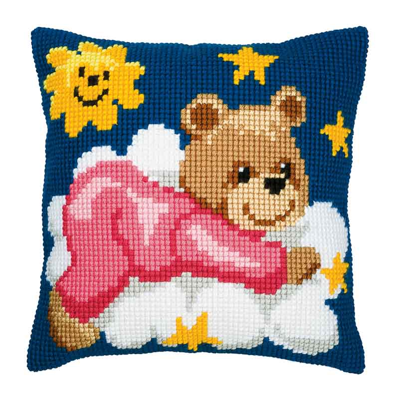 Vervaco Cross Stitch Cushion Kit: Pink Teddy