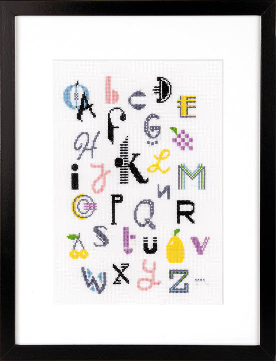 Counted Cross Stitch: Kit: Modern Alphabet Birth & Babies CSK