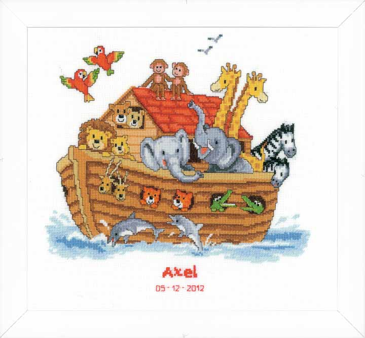 Counted Cross Stitch Kit: Birth Record: Noah's Ark Birth Records CSK