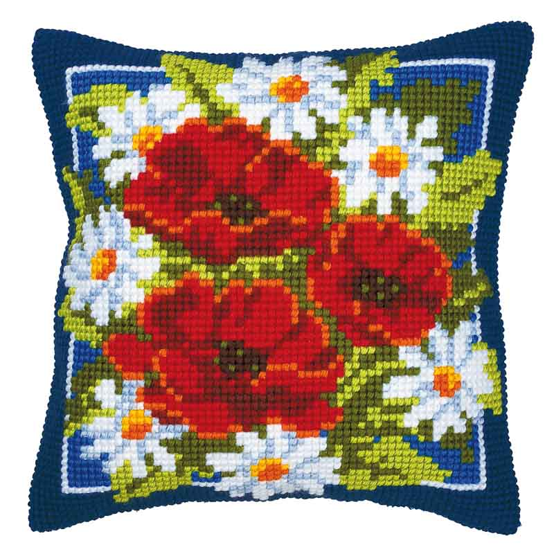 Vervaco Cross Stitch Cushion Kit: Poppies (Blue Background) Flowers & Nature CSCK