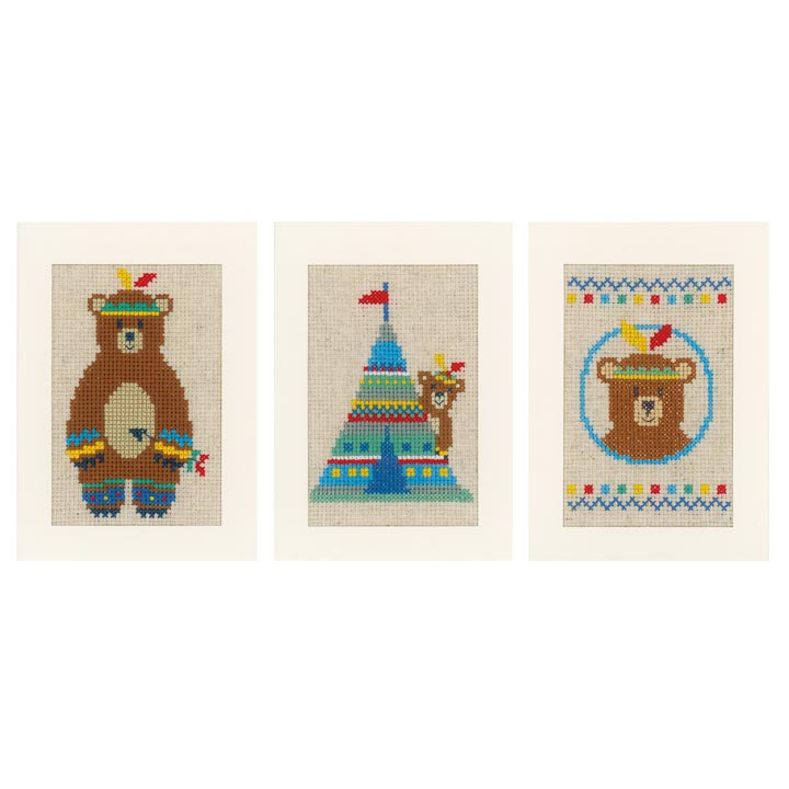 Counted Cross Stitch Cards: Lief! Indian Bear (Set of 3)