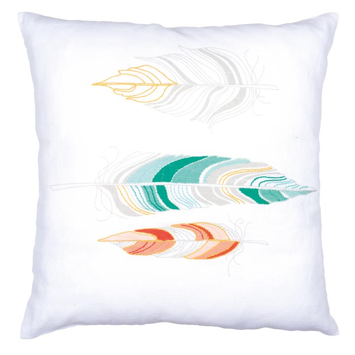 Vervaco Embroidery Kit: Cushion: Feathers Cushion