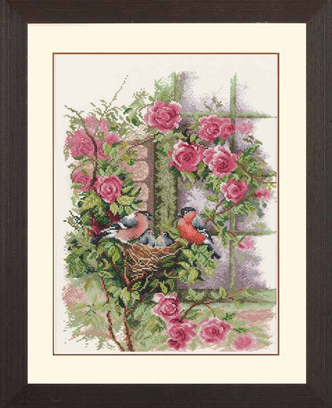 Lanarte Counted Cross Stitch Kit: Nesting Birds in Rambler Rose