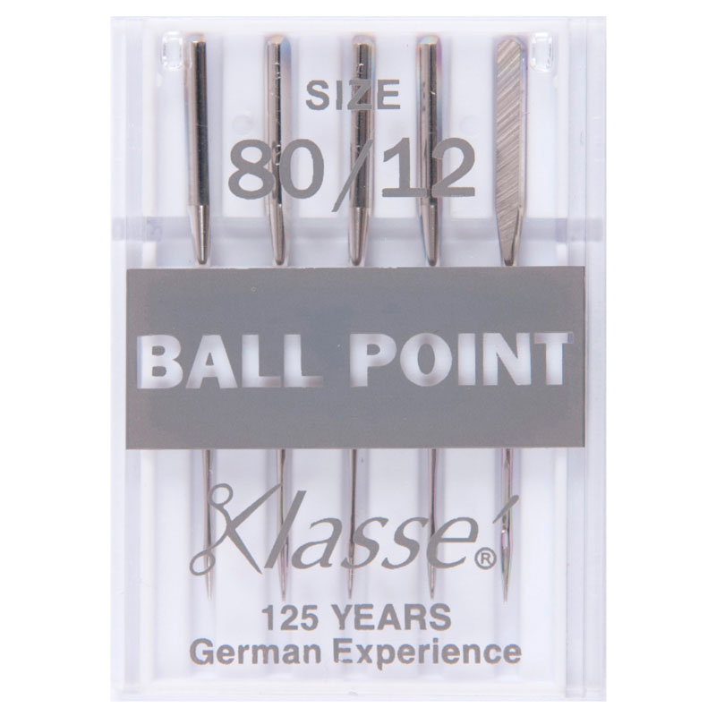Klasse Sewing Machine Needles: Ball Point: 80/12: 5 Pieces