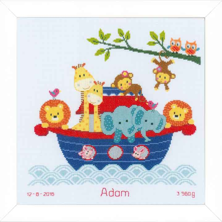 Counted Cross Stitch: Birth Record: Animals In Boat Birth Records CSK