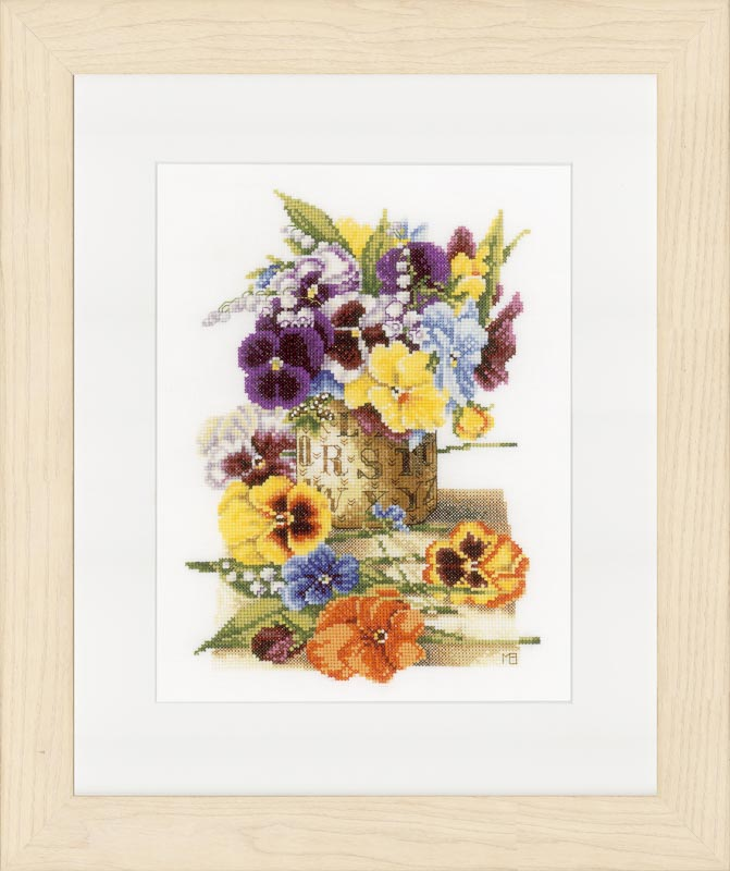 Lanarte Counted Cross Stitch Kit: Pot of Pansies (Aida,W)