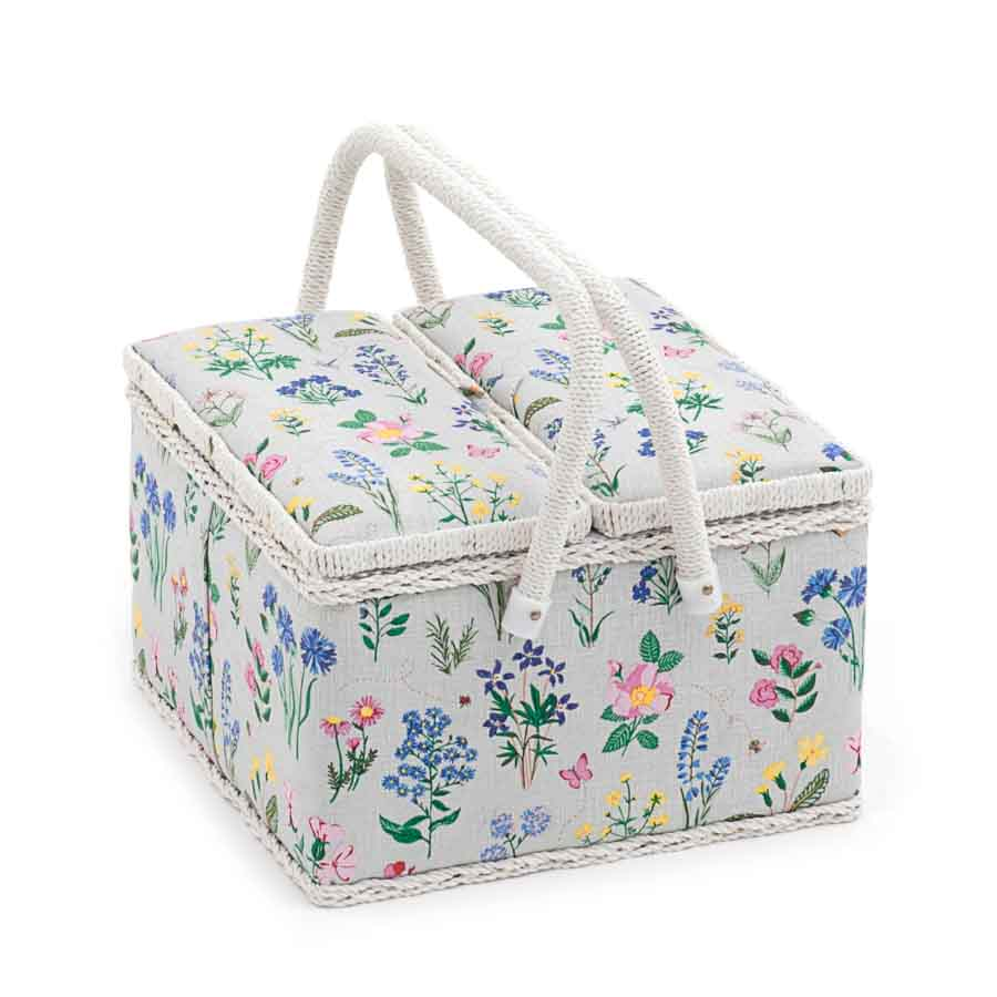 HobbyGift Sewing Box (L): Twin Lid: Square: Spring Garden | MRLTLE_272