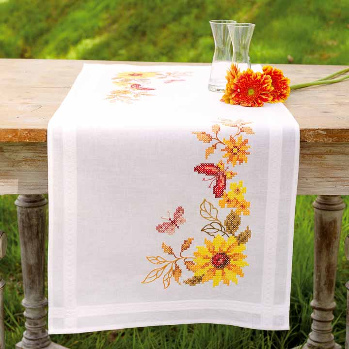 Vervaco Embroidery Kit: Runner: Sunflower & Butterflies Runners and Tablecloth