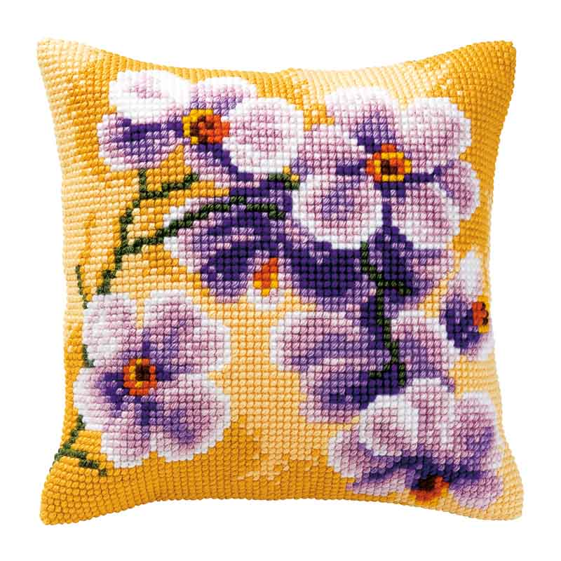 Vervaco Cross Stitch Cushion Kit: Orchid