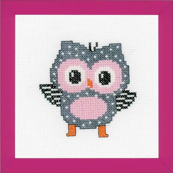 Counted Cross Stitch Kit: Grey Owl