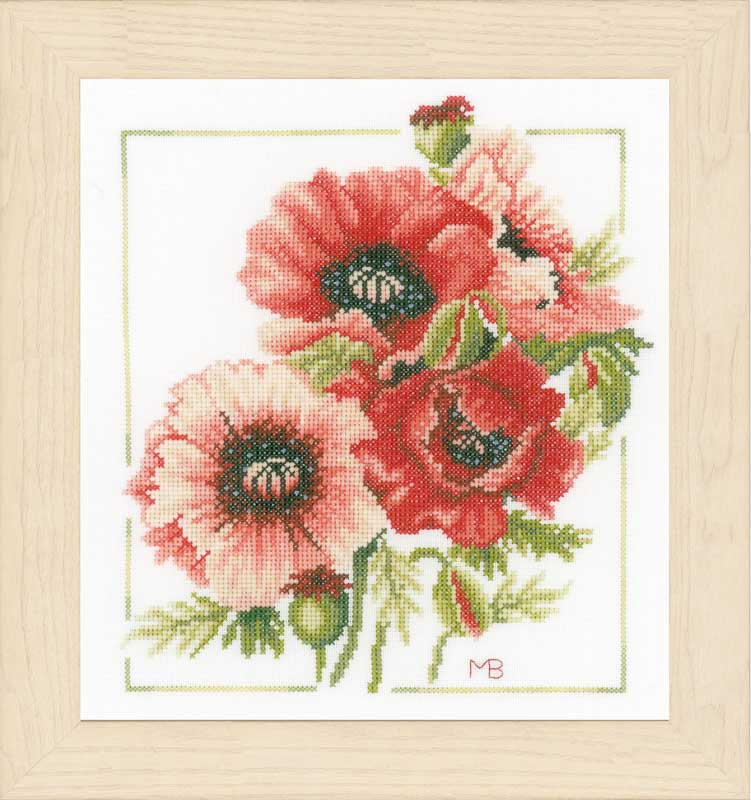 1x Counted Cross Stitch Poppies /& Swirls Sewing Craft Tool Hobby Art UK