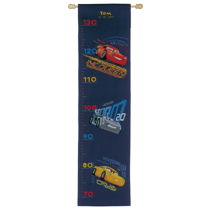 Vervaco Counted Cross Stitch Kit: Height Chart: Cars - Screeching Tyres Characters CSK