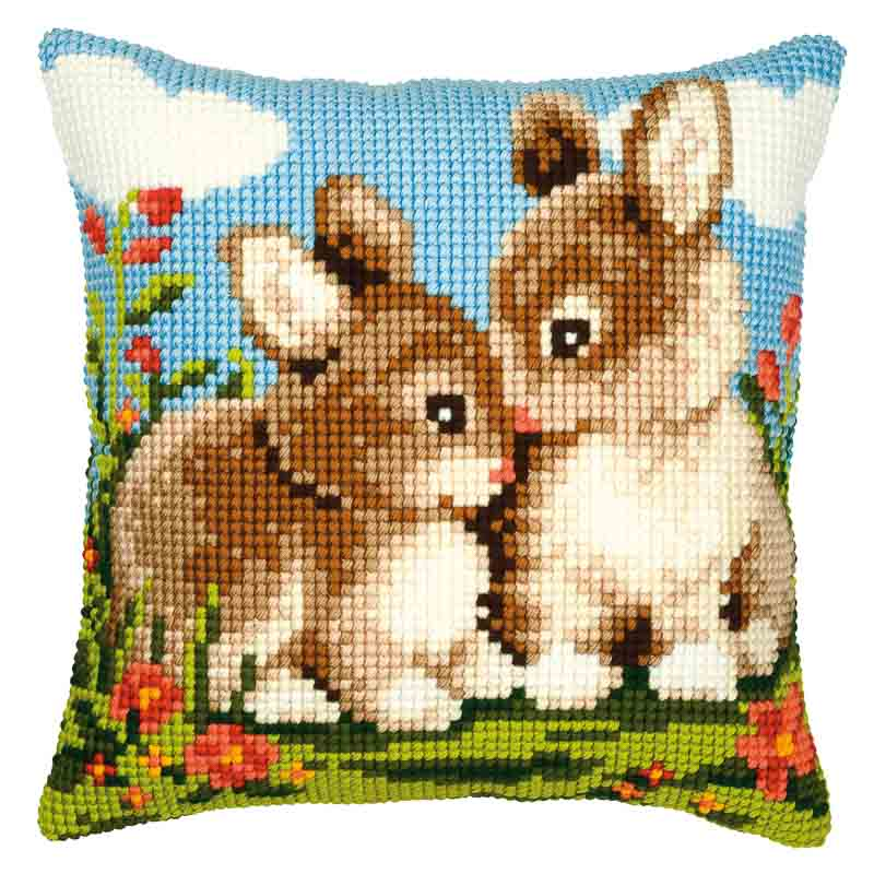 Vervaco Cross Stitch Cushion Kit: Rabbits