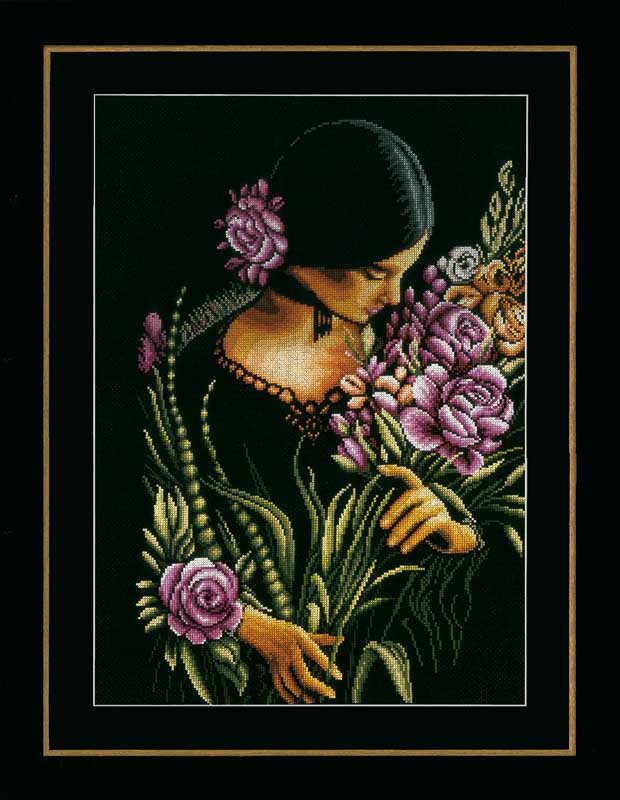 Lanarte Counted Cross Stitch Kit: Woman & Flowers (Aida)