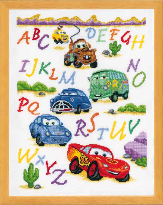 Vervaco Counted Cross Stitch Kit: Cars Characters CSK