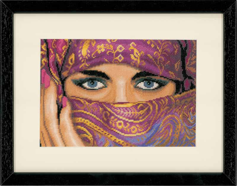 Lanarte Counted Cross Stitch Kit: Veiled Woman (Aida, Ivory)
