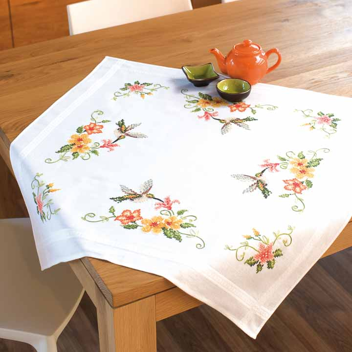Vervaco Embroidery Kit: Tablecloth: Hummingbird Runners and Tablecloth