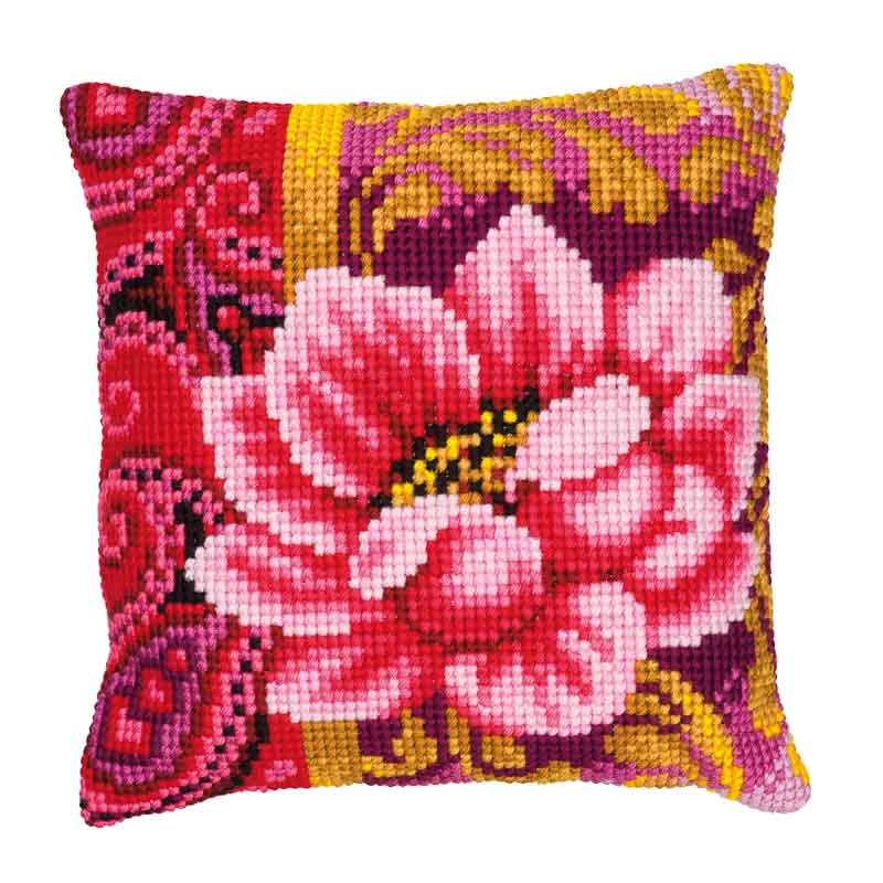 Vervaco Cross Stitch Cushion Kit: Pink Flower