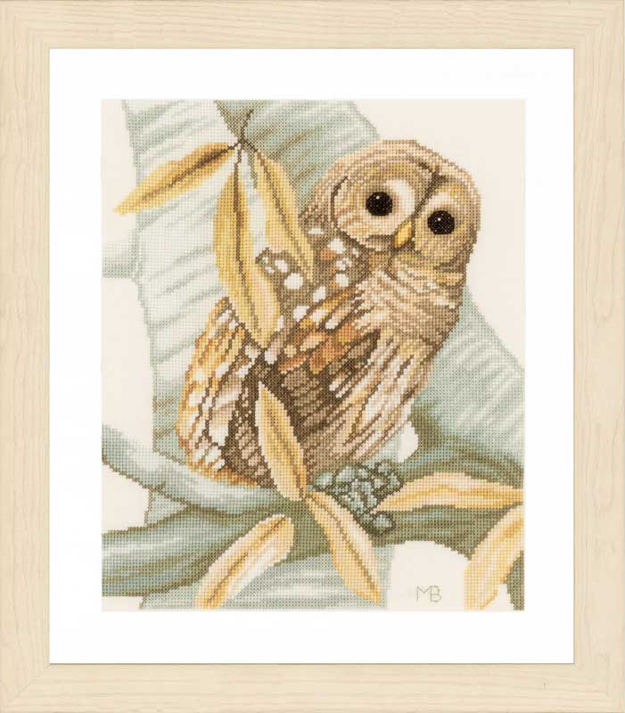 Lanarte Counted Cross Stitch Kit: Owl and Autumn Leaves