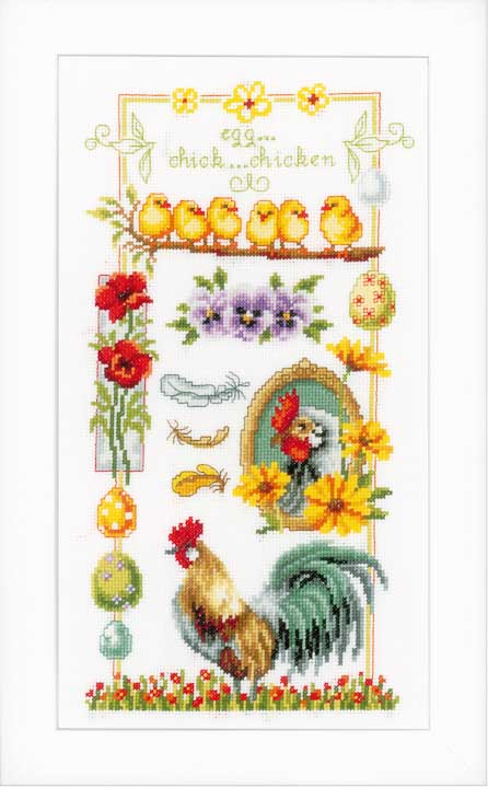 Counted Cross Stitch Kit: About Chickens