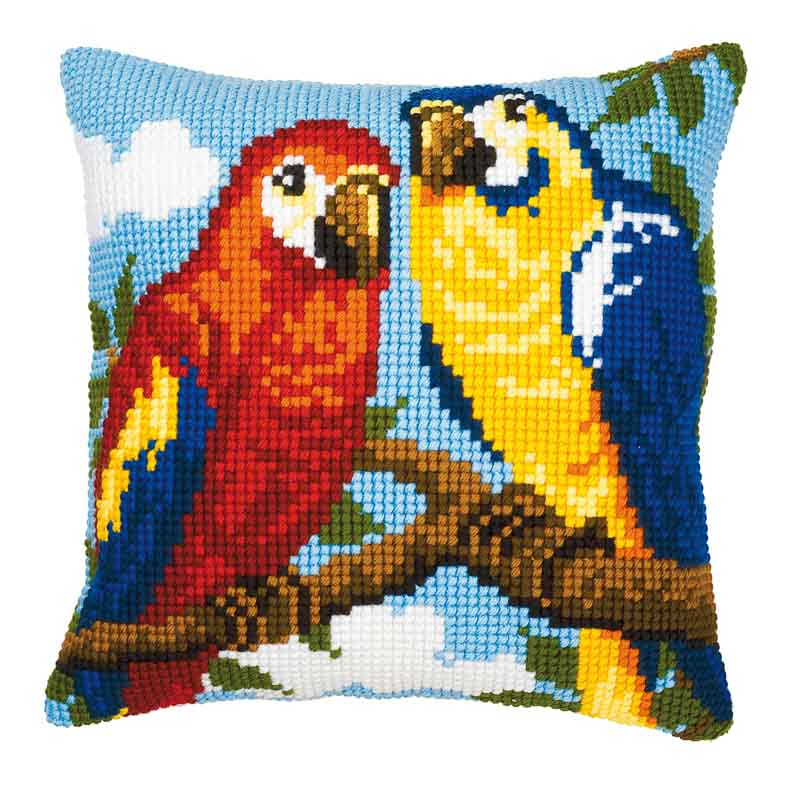 Vervaco Cross Stitch Cushion Kit: Parrots Animals & Birds CSCK
