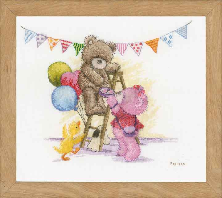 Counted Cross Stitch Kit: Popcorn Bear Birthday Bears & Mice CSK