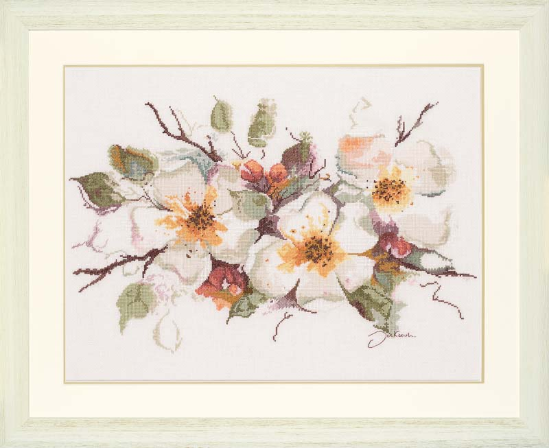 Lanarte Counted Cross Stitch Kit: Appleblossom (Linen)