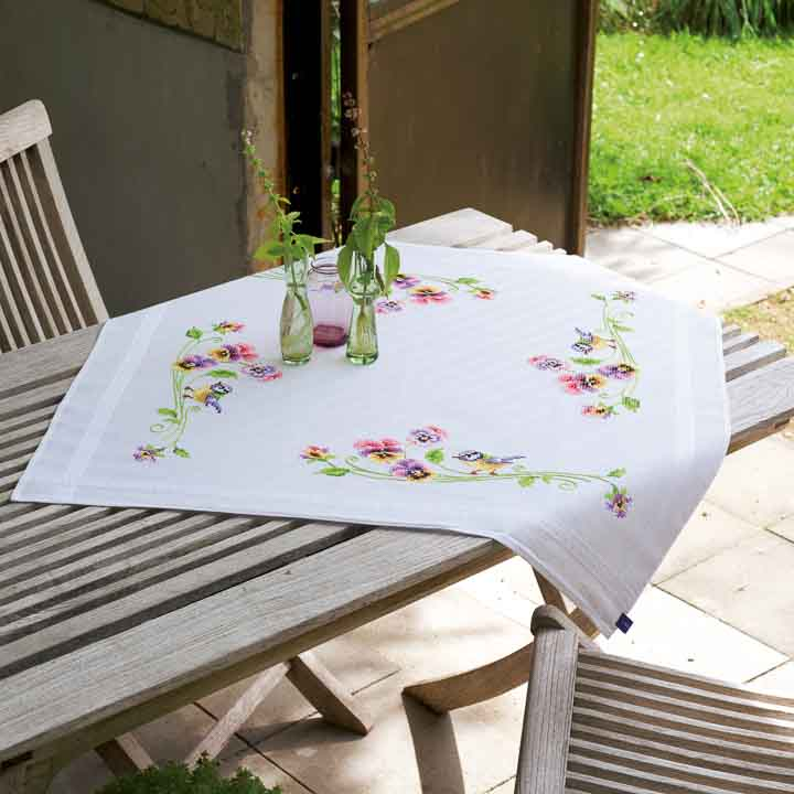 Vervaco Embroidery Kit: Tablecloth: Birds & Pansies Runners and Tablecloth