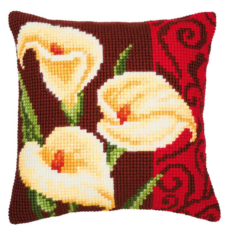 Vervaco Cross Stitch Cushion Kit: Arum Lilies Flowers & Nature CSCK