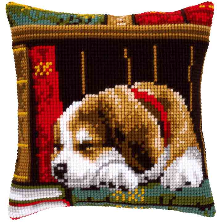 Vervaco Cross Stitch Cushion: Dog Sleeping Cats & Dogs CSCK