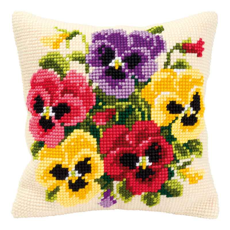 Vervaco Cross Stitch Cushion Kit: Pansy Posy Flowers & Nature CSCK